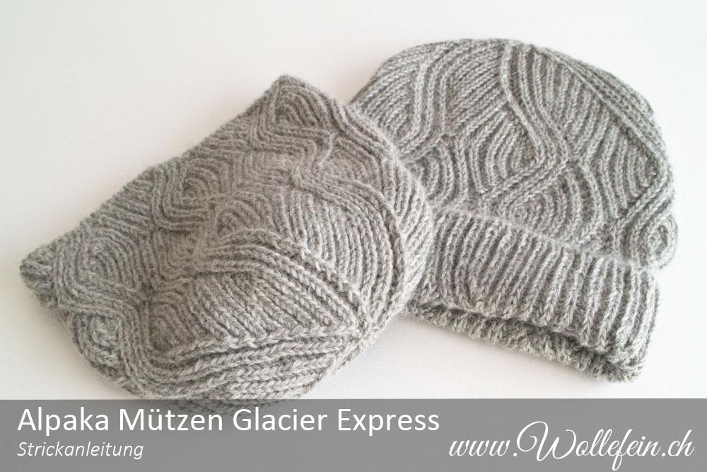 Alpaka Mützen Glacier Express aus Indiecita Baby Alpaca Strickanleitung