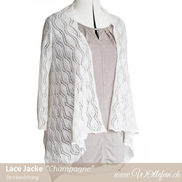 Lace Jacke Champagne Strickanleitung www.wollefein.ch Design Ekaterina Arndt