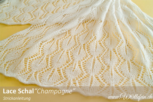 Lace Schal Champagne Strickanleitung Design Ekaterina Arndt www.wollefein.ch
