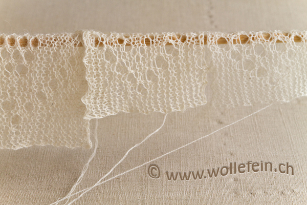 Garn aus Alpaka, Merinowolle. Lace Garn Test für Schal.