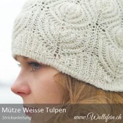Mütze-Weisse-Tulpen-Strickanleitung-www.wollefein.ch