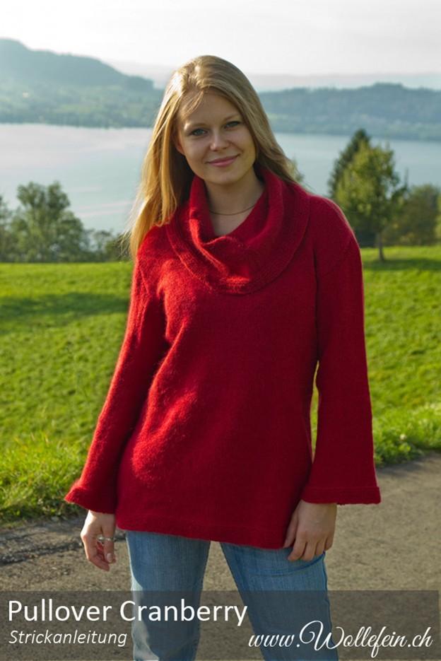 Pullover Cranberry Strickanleitung bei www.wollefein
