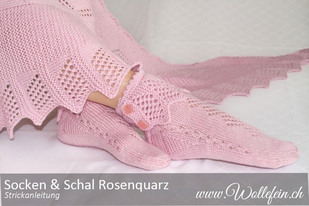 Socken und Schal Rosenquarz mit Laceborte Strickanleitung