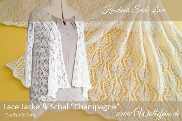 Lace Jacke und Schal Champagne Strickanleitung Wollefein